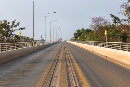 first australians: Thai-Lao friendship bridge1st across mekong river in nong khai Thailand Stock Photo
