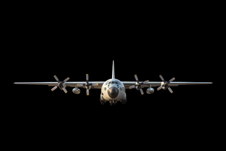 airborn: military transport aircraft on black  background