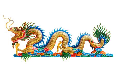 Chinees draakstandbeeld op witte achtergrond