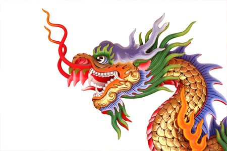 colorful chinese dragon head statue on white background