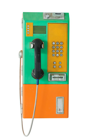 cell phone booth: public telephone coin and card on white background