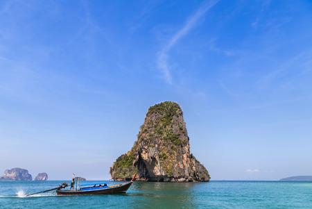 railay: Tropical sea with longtail boat  at railay beach  krabi Thailand Stock Photo