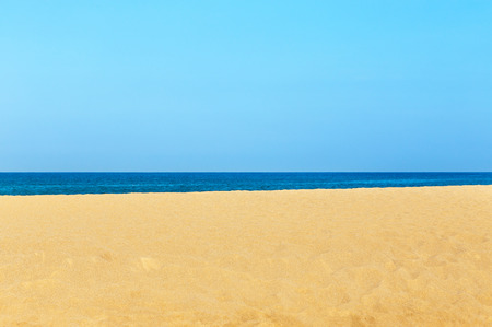 snorkelers: Empty tropical beach and sea with white cloud and blue sky background