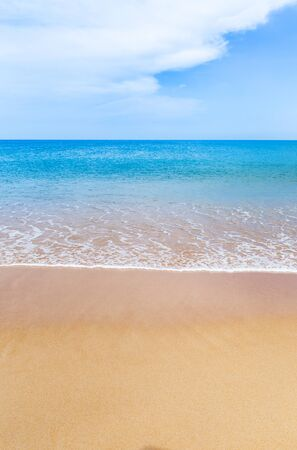 snorkelers: Empty tropical beach and sea with white cloud and blue sky background in  Thailand