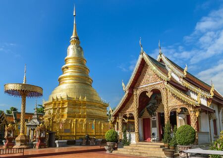 hariphunchai: wat phra that hariphunchai golden pagoda temple at lamphun thailand