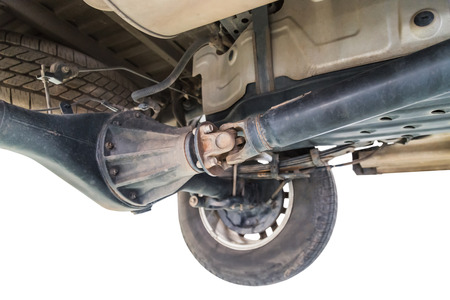 drive shaft to wheel system under pickup car Standard-Bild