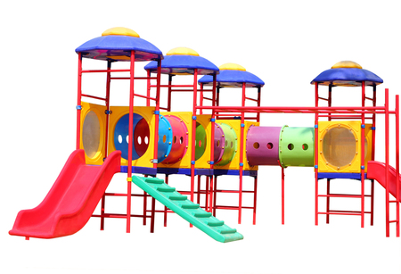 stair climber: Colorful children playground in the park isolated on white background Stock Photo