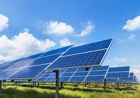 Photovoltaics  module solar panels in solar power station
