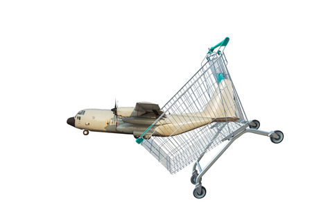 cargo aircraft in shopping trolley isolated on white background. Stock Photo
