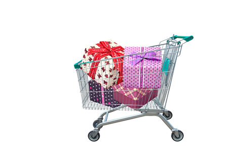 presents ribbon gift box in shopping trolley cart isolated on white background