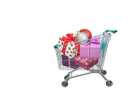 family mart: presents ribbon gift box in shopping trolley cart isolated on white background