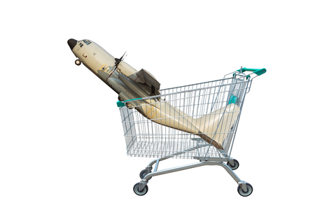 cargo aircraft  in shopping trolley isolated on white background.