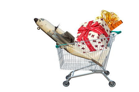 cargo aircraft with gifts and presents in shopping trolley isolated on white background.