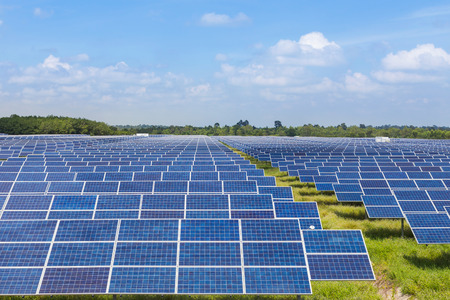 solar power station: Photovoltaics  module in solar power station Stock Photo