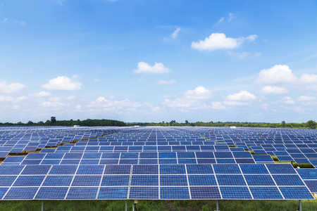 solar power station: solar panels in solar power station