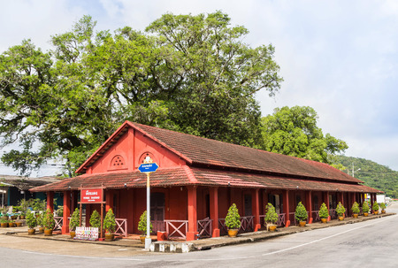invade: tuek daeng old red building of the french military in chanthaburi, Thailand.