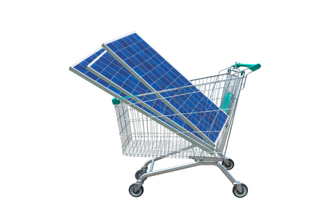 Photovoltaics  solar panels module in shopping trolley cart isolated on white background.