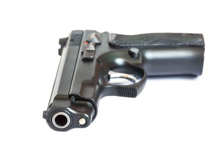 gunfire: automatic pistol  handgun weapon on white background Stock Photo