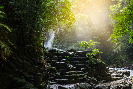 Phlio waterfall in rainy day at namtok phlio national park chanthaburi ,Thailand