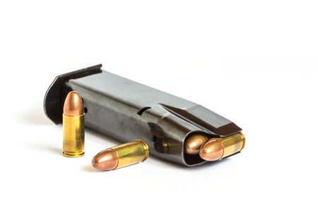 gunfire: bullets and magazine handgun pistol weapon on white background Stock Photo