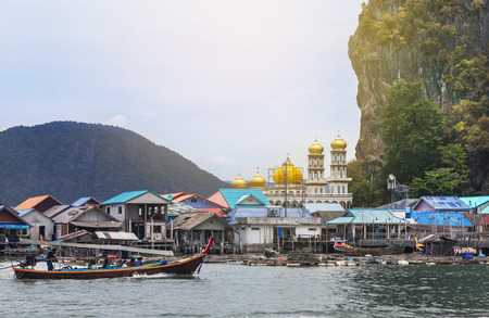 Koh panyee muslim fishing village floating in phang nga bay national park, thailand