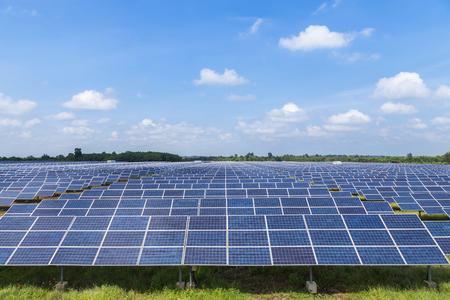 solar power station: solar panels photovoltaics  in solar power station Stock Photo