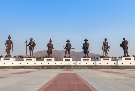 hua: great kings bronze monument of Thailand in Rajabhakdi public park, Hua Hin, Thailand. Stock Photo