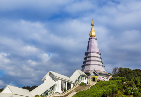 Naphapholphumisiri pagoda on the park top of doi inthanon in ChiangMai, Thailand on blue sky background