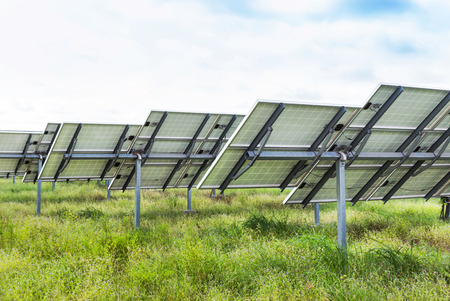 solar power station: back side view photovoltaics solar panels in solar power station Stock Photo