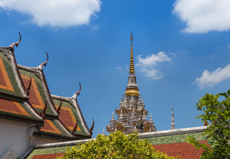 ancient white pagoda in Wat Phra Borommathat Chaiya Ratchaworawihan Surat thani province, Thailand Stock Photo