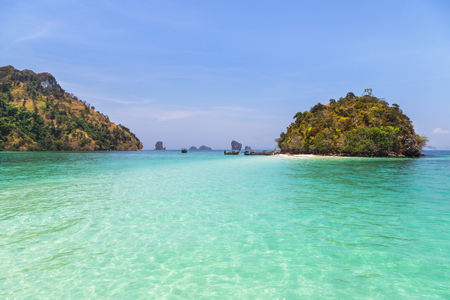 view of small island in andaman sea with blue sky at krabi Thailand