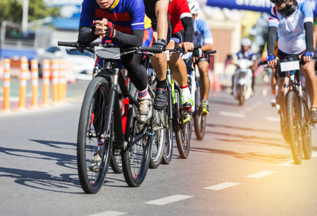 close up  group of cyclists during the bicycle competition. Stock Photo