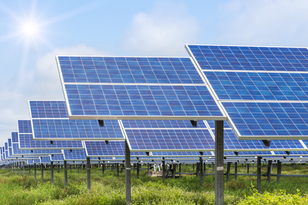 solar cells in power station alternative energy from the sun Stock Photo