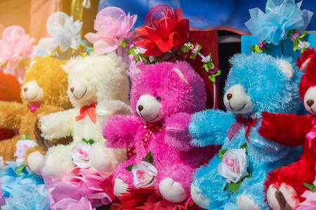 group of colorful bear dolls for gift