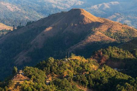 high angle viewpoint over rainforest mountains between border thai -  myanmar at Thong Pha Phum. Kanchanaburi, Thailand.