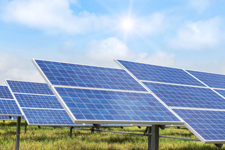 solar cells in power station alternative renewable energy from the sun Stock Photo