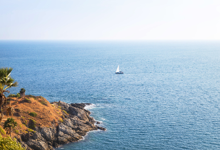 phrom: View of Laem phrom thep cape  the best spots to watch the sunset in andaman sea at phuket,Thailand. Stock Photo
