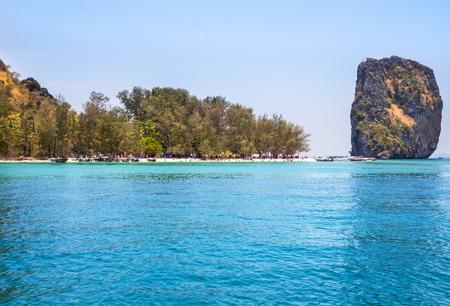 View of tropical beach of Poda island in the andaman sea krabi Thailand