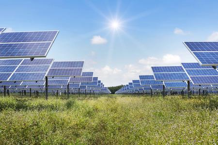 solar panels  in power station alternative renewable energy from the sun