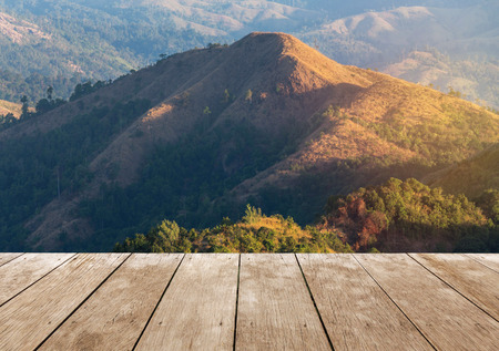 balcony: Empty perspective old wooden balcony terrace floor on viewpoint high tropical rainforest mountain in the morning