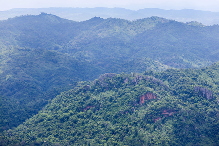 high angle viewpoint over rainforest mountains in Thailand. Stock Photo