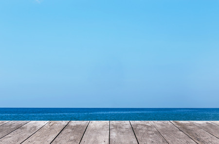 Empty perspective old wooden  balcony terrace floor with tropical sea background
