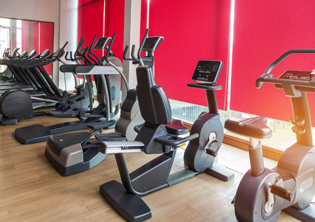 Rows Of Stationary Bikes And Treadmills Equipment Health Exercise
