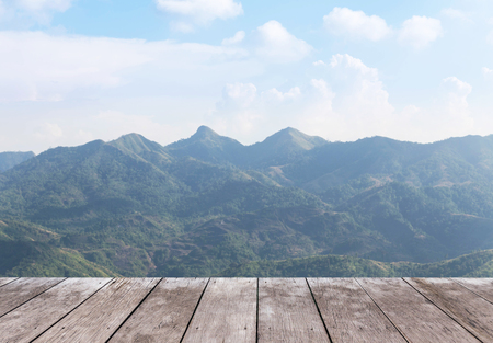 balcony: Empty old wooden balcony terrace floor on viewpoint high tropical layer mountain of rainforest Stock Photo