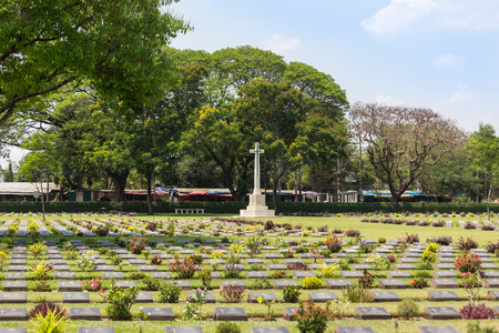 view of war cemetery public historical monuments of allied prisoners of the world war II in Kanchanaburi Thailand