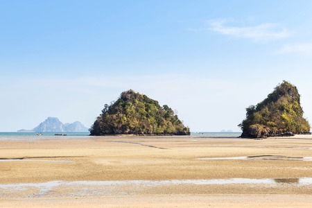 aonang: view of tropical beach during low tide in andaman sea at Ao Nang beach Krabi, Thailand. Stock Photo