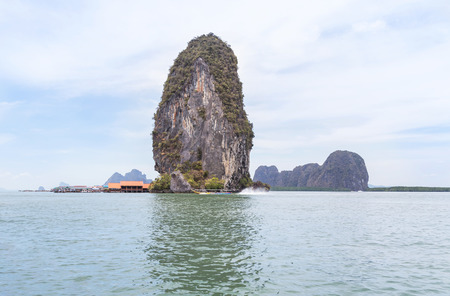 View of Koh panyee is muslim fishing village floating in andaman sea at phang nga bay national park, thailand Stock Photo