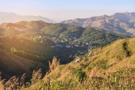 high angle viewpoint  scenic over tropical mountains at Ban I-Tong, Pilok, Thong Pha Phum. Kanchanaburi, Thailand between border thai -  myanmar in afternoon