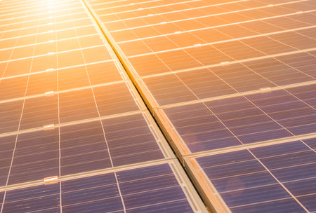 Close up rows array of polycrystalline silicon solar cells or photovoltaics in solar power plant turn up skyward absorb the sunlight from the sun on sunset Stock fotó