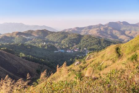 high angle viewpoint  scenic over tropical mountains at Ban I-Tong, Pilok, Thong Pha Phum. Kanchanaburi, Thailand between border thai -  myanmar. Banco de Imagens